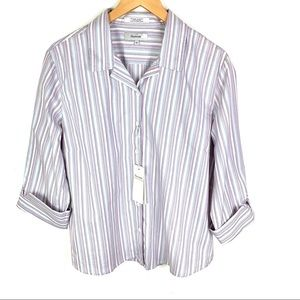 Faconnable Striped Button Down 3/4 Sleeve Blouse